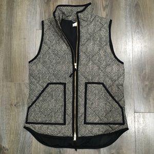 J. Crew Quilted Herringbone Print Puffer Vest